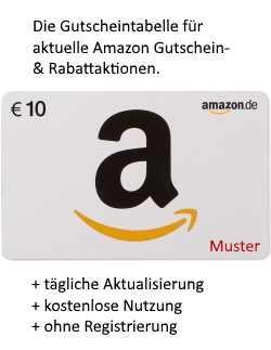 Die Gutscheintabelle für aktuelle Amazon Gutschein- & Rabattaktionen.