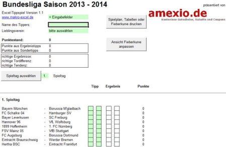 Screenshot Excel Tippschein 1. Bundesliga 2013/2014