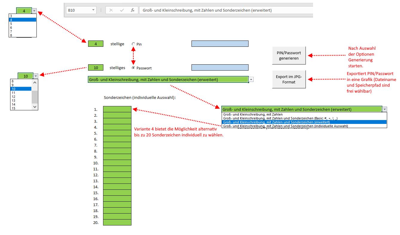Excel Passwort Generator