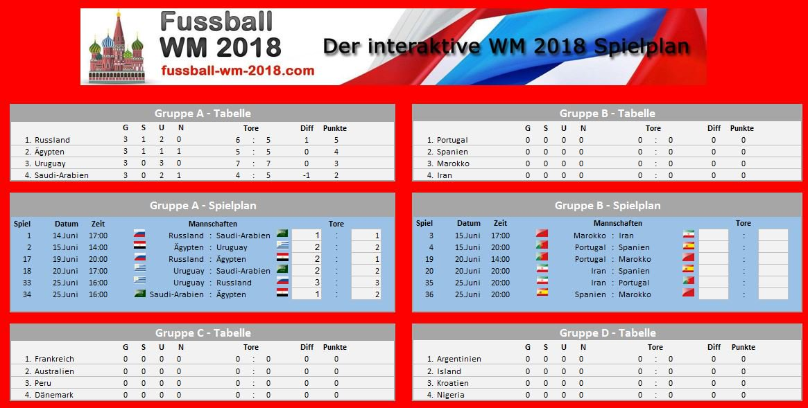 Excel WM 2018 Spielplan