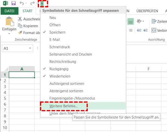 Excel Symbolleiste Schnellzugriff