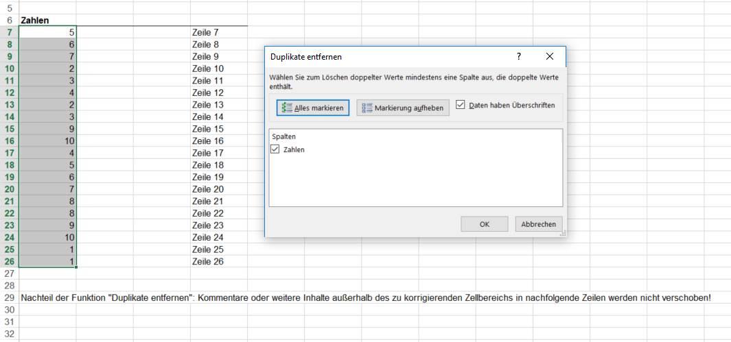 Standardfunktion Duplikate entfernen ausführen