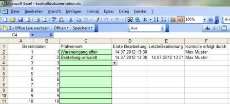 Excel Kontrolldokumentation