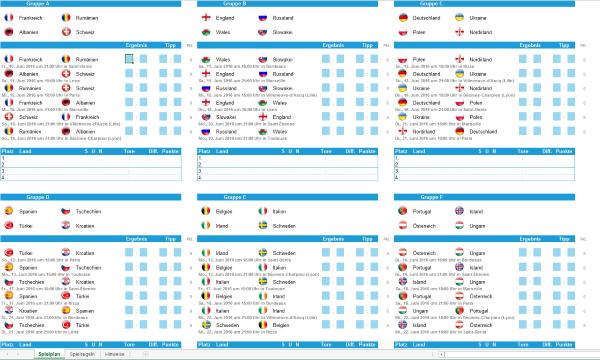 Spielplan Euro 2016