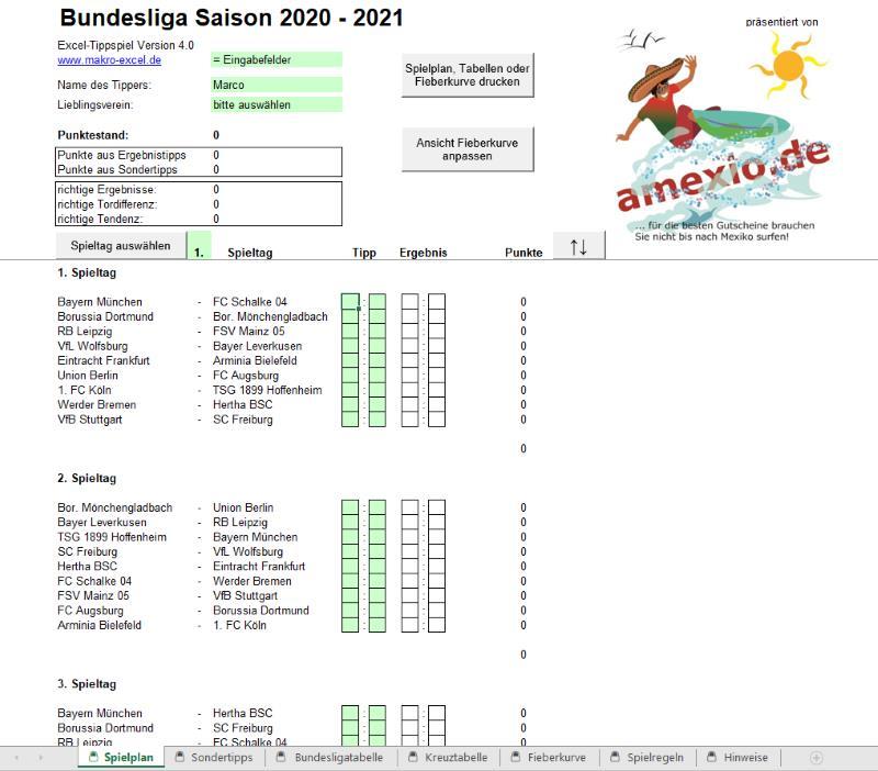Excel Bundesliga Tippschein 2020-2021