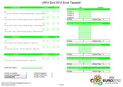 Screenshot UEFA Euro Excel Tippspiel 2012