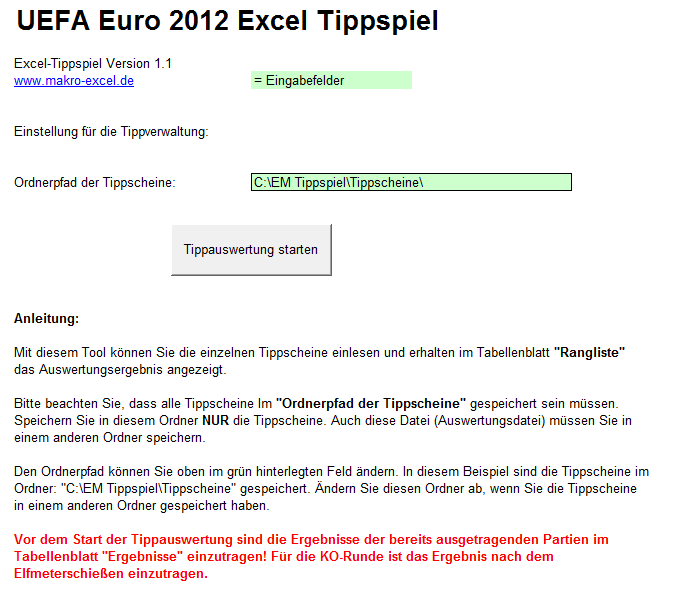 Screenshot UEFA Euro 2012 Tippauswertung