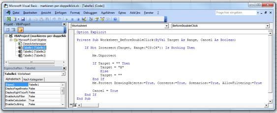 Visual Basic Editor - Markieren per Doppelklick Makro Beispiel