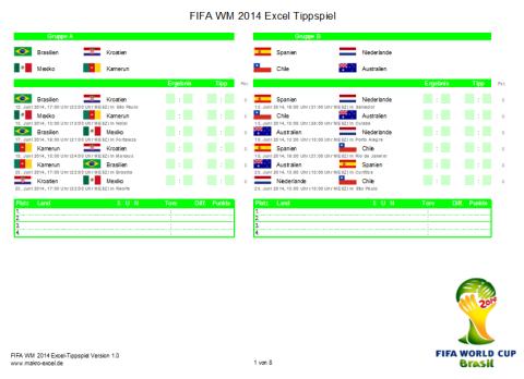 WM 2014 Excel Tippschein