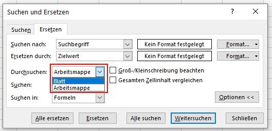 Excel VBA suchen ersetzen