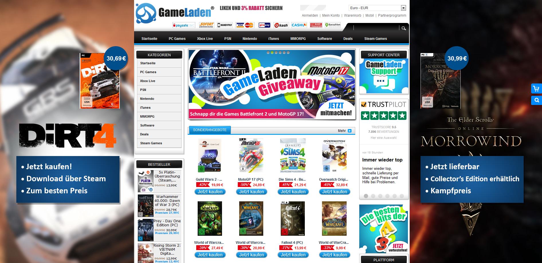 Gameladen Startseite